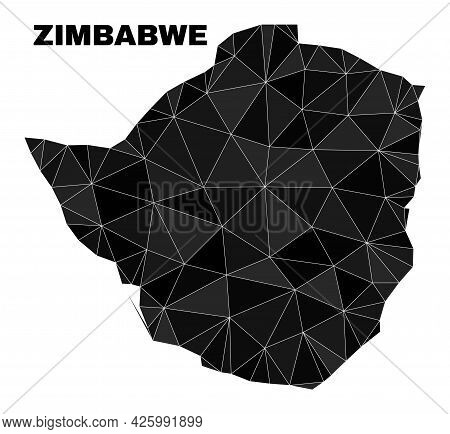 Low-poly Zimbabwe Map. Polygonal Zimbabwe Map Vector Designed With Chaotic Triangles. Triangulated Z
