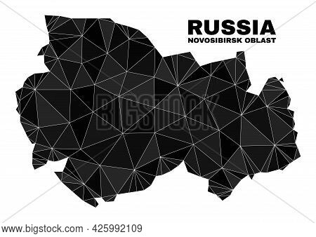 Lowpoly Novosibirsk Region Map. Polygonal Novosibirsk Region Map Vector Filled From Chaotic Triangle