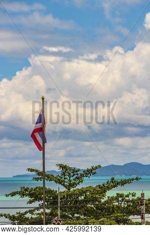 Koh Samui Island Beach And Landscape Panorama With Thailand Flag.