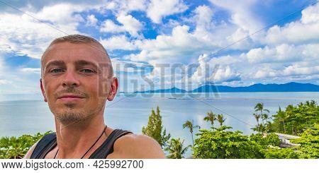 Tourist At Koh Samui Island Beach Landscape Panorama In Thailand.