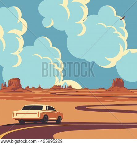 Vector Illustration Of A Highway And A Receding Car At The Desert With Mountains And Clouds In The B