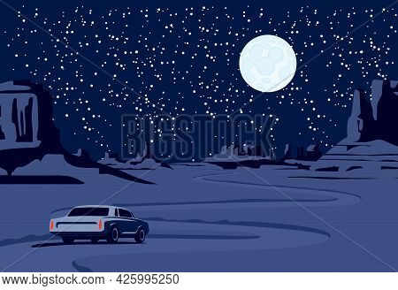 Night Landscape With A Deserted Valley, Mountains, A Winding Road With A Single Passing Car And A Fu
