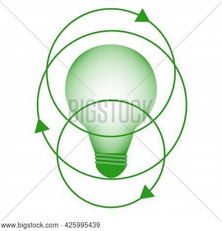 Light Bulb. Green It Symbol. Environmental Protection Concept. Digital Sustainability.