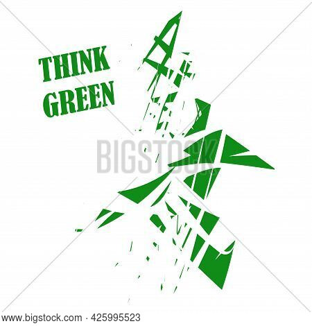 Think Green - Abstract Geometric Background. Environmental Implications Of The Use Of Technology. En