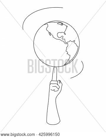 The Earth Is Spinning On The Forefinger. Planet Earth With Finger Created By Lines.