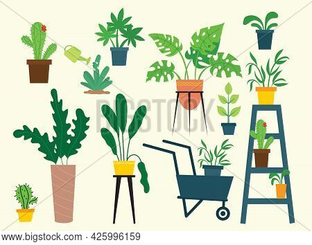 Indoor And Outdoor Landscape Garden Potted Plants Isolated On White. Vector Set Green Plant In Pot,