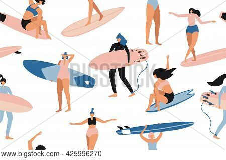 Surfing Seamless Pattern In Vector. Surf Girls Character In Swimsuit With A Shortboard And Longboard