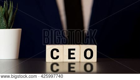 Ceo - Word From Wooden Blocks With Letters, Chief Executive Officer Ceo Concept, Gray Background