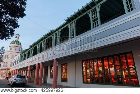 Napier New Zealand - June 1 2015; Long Art Deco Veranda Of Masonic Hotel Leading To Historic Domed T