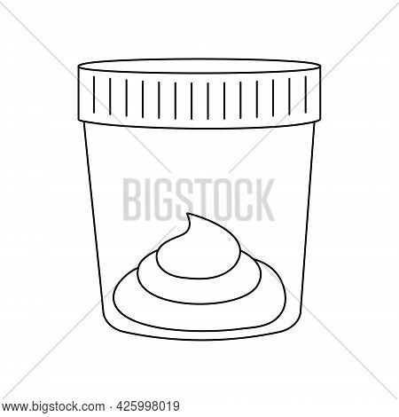 Stool Sample Outline Icon. Plastic Cups Full With Fecal Analysis. Laboratory Examination Concept. Ed