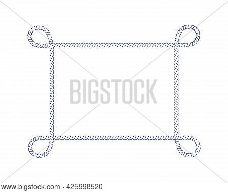 Rope Frame With Loops. Rectangle Shape In Retro Yacht Style. Nautical Design Element For Print And D