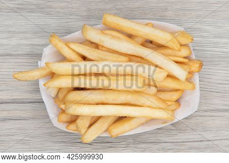 Overhead View Of Side Order Of French Fries Are Delicious To Eat All By Themself As Well.