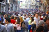 Blurred crowd of unrecognizable people at the Istiklal street in Istanbul, Turkey poster