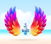 Abstract vector illustration - colorful wings on a tropical sea shore poster