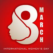 Happy Women's Day greeting card or background with illustration of lady face and text 8 March on red background. poster