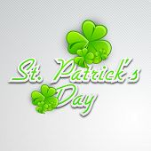 Irish four leaf lucky clovers background with text St. Patrick's Day. EPS 10. poster