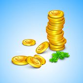 Irish shamrock leaves and golden coins flyer, banner or background for Happy St. Patrick's Day. EPS 10. poster