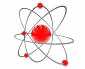 Orbital model of atom on a white background poster