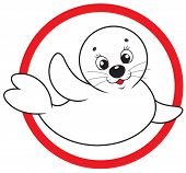 Little whitecoat waving his flipper in greeting, sign of saving baby seals poster