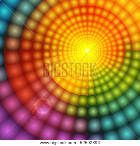 Abstract colorful shining circle tunnel background