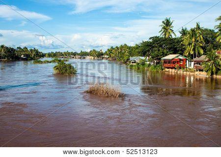 Stilt houses on Mekong river