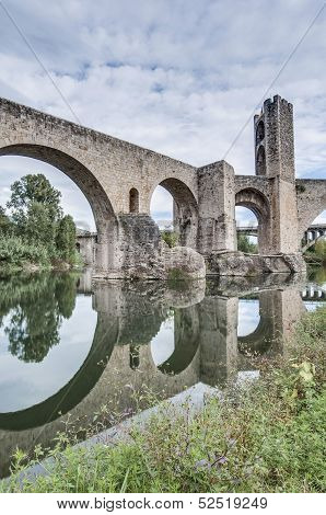 Medieval Bridge In Besalu, Spain