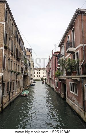 Beautiful Scene of an Alley in Venice, Italy