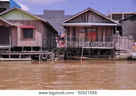 Traditional wooden houses on stilts