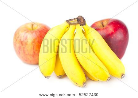 Two Red Apple And Bananas Isolated On White