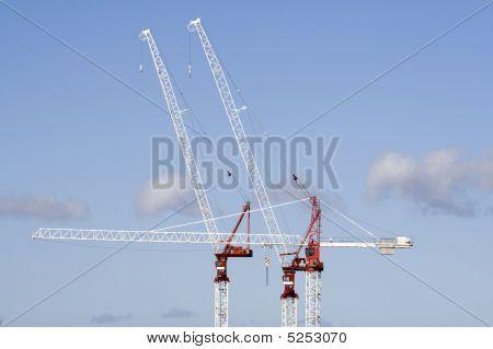 Skyline Of Three Tower Cranes Close Up