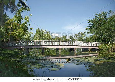 Wood Bridge In A Park