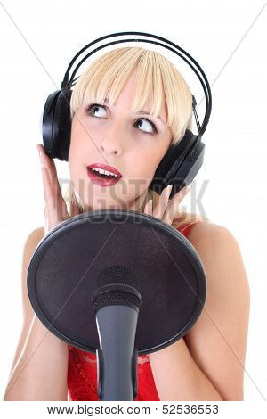 Portrait Of Female Singer Over White