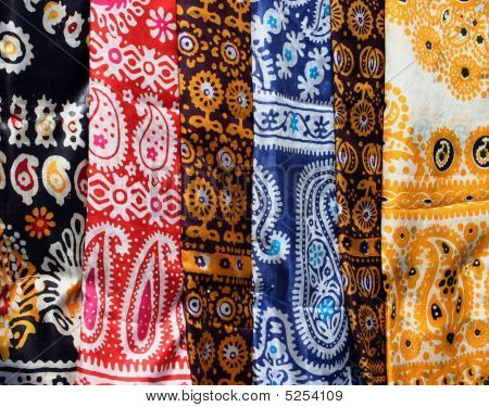 Female kerchiefs with traditional ornament. Turkmenistan. Ashkhabad market. poster