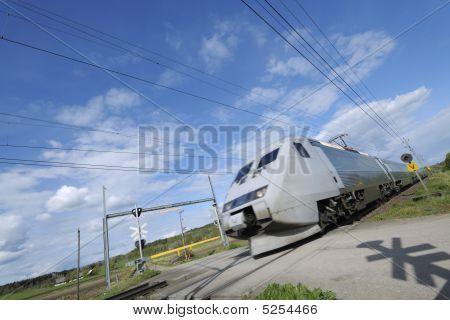 Speedy Train In Motion