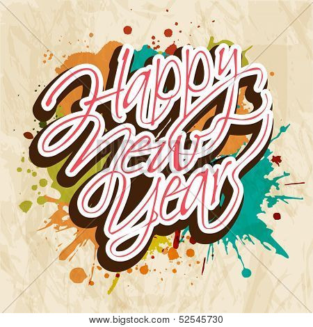 Happy New Year 2014 celebration poster, banner or flyer design on grungy colorful vintage background.
