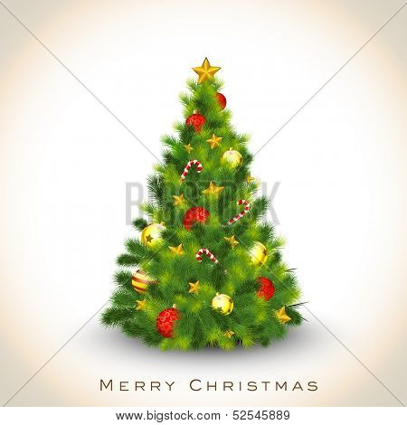 Beautiful decorated Xmas Tree on abstract background for Merry Christmas celebration background.  poster