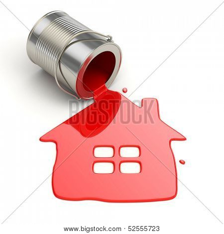 Spilt paint and house symbol. Paintig your home. 3d