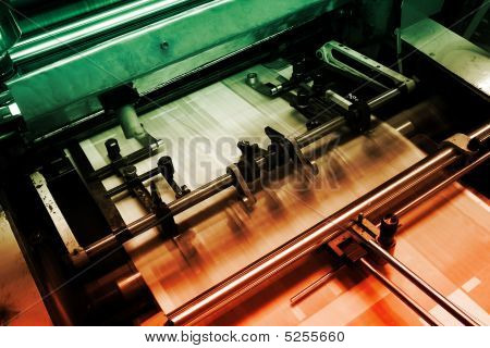 Offset press machine in printing house detail poster
