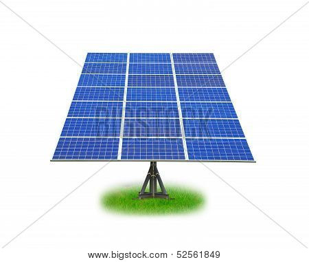 Solar Panel with green grass isolated on white background
