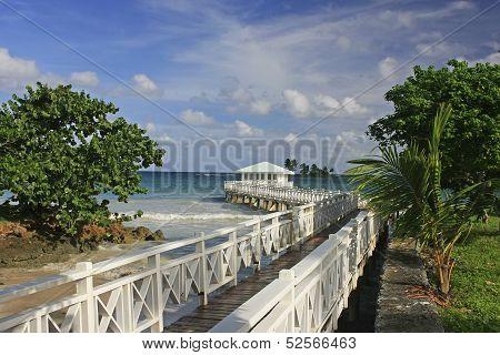 Summer pavilion at Las Galeras beach Samana peninsula Dominican Republic poster