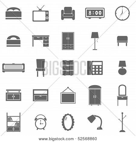 Bedroom Icons On White Background