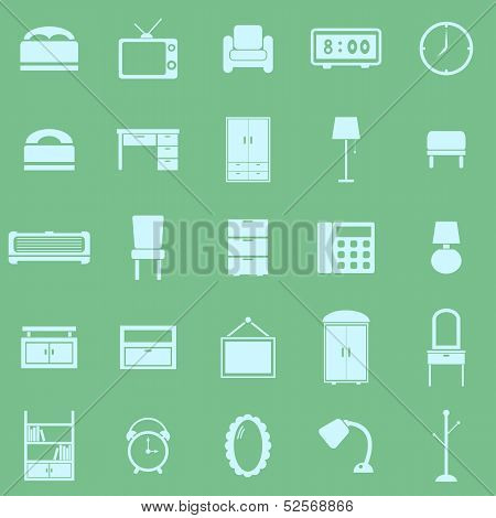 Bedroom Color Icons On Green Background
