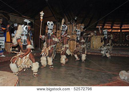 Zulu Dancers In Ritual Costumes(South Africa)