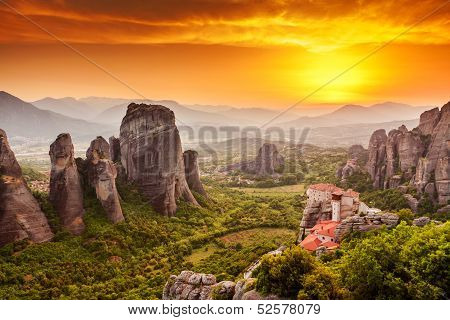 Meteora Roussanou Monastery At Sunset, Greece