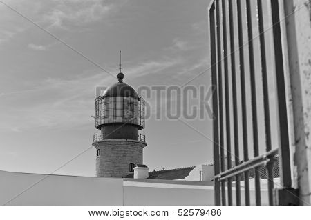 Lighthouse Of Cabo Sao Vicente, Sagres, Portugal In Black And White