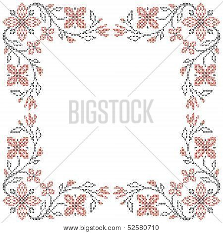 Floral frame for cross-stitch embroidery in Ukrainian traditional ethnic style. Red and black vector illustration. poster