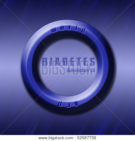 Graphic design World Diabetes Day related in shape of blue circle diabetes symbol. poster