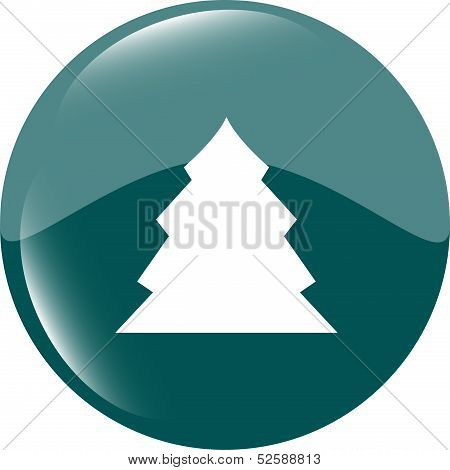 Button With Christmas Tree On It