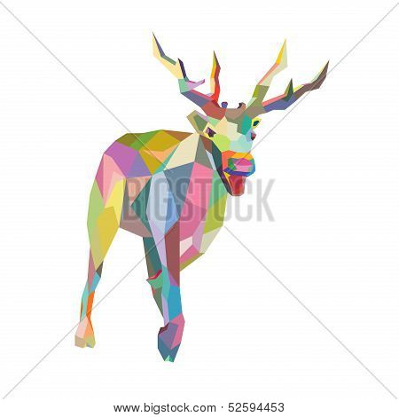 Christmas Deer trendy hipster style geometric shapes in vector