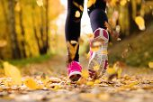 Close up of feet of a runner running in autumn leaves training exercise poster